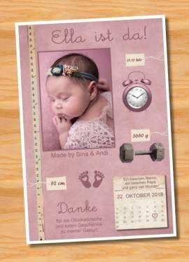 Babykarten.Ausgefallene Babykarten Dankeskarten Geburt 293 Bild