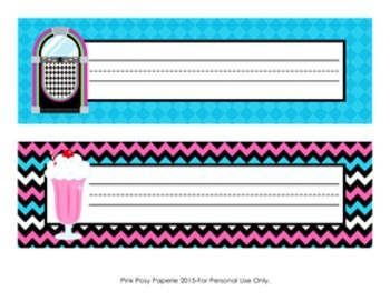 These sweet name plates are great for a 50's theme classroom.   They measure 10 inches wide by 3 inches tall. Print onto cardstock, write students' names and laminate for sturdiness. File is not editable.  File includes two 8 1/2 x 11 sheets. Each sheet contains 2 different name tags.