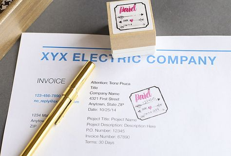 Paid Invoice Stamp Silhouettes, Cricut and Silhouette america - making a invoice
