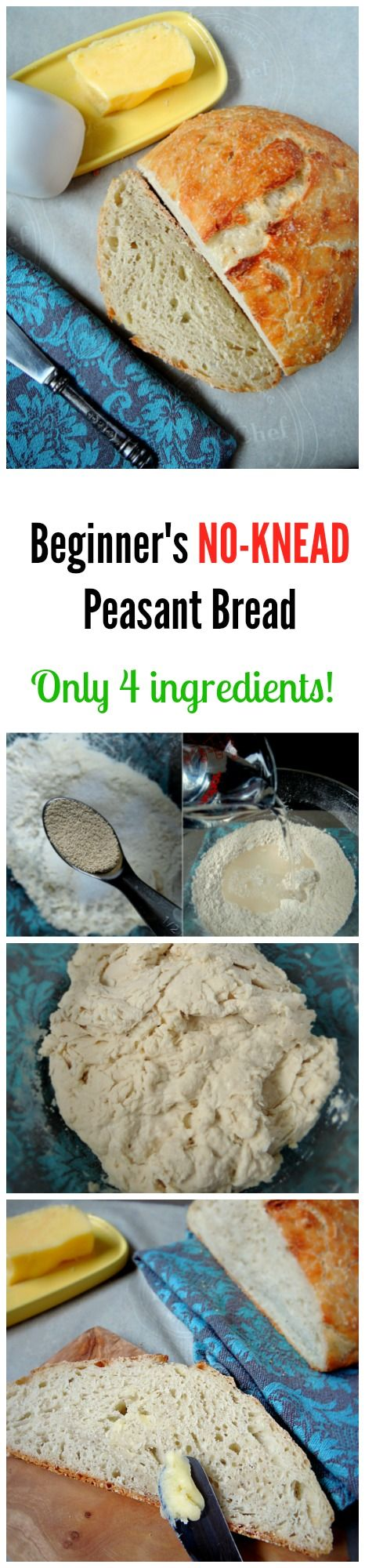 The easiest bread recipe EVER! With only 4 ingredients you can make a hearty crusty peasant loaf!