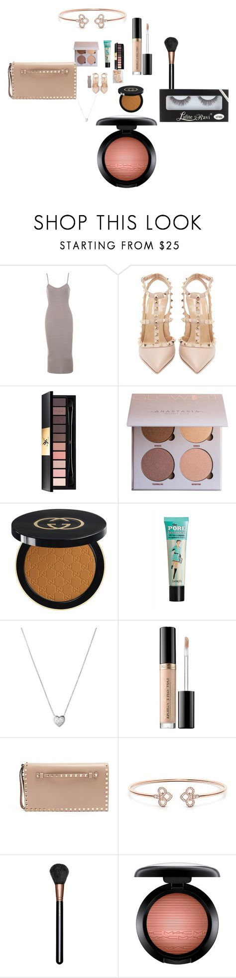 """Untitled #4495"" by fashionicon67 ❤ liked on Polyvore featuring Valentino, Yves Saint Laurent, Gucci, Links of London, Too Faced Cosmetics and MAC Cosmetics"