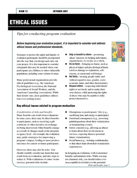 Ethical Issues  Tips For Conducting Program Evaluation  Pdfsr