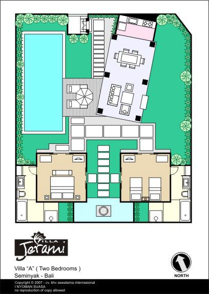 Villa Jerami Seminyak Bali Villas Accommodation 2 Bedroom Floor Plan Floor Plans Bedroom Floor Plans Bali House