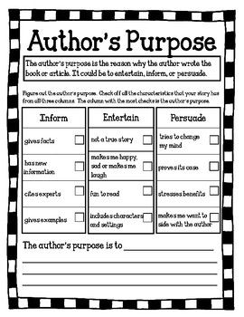 Author S Purpose Worksheet With Images Authors Purpose
