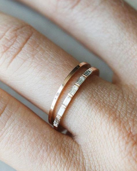 This sleek ring holds six baguettes in a sophisticated bar setting for a delicate look that's both classic and contemporary. 1.6 mm band ~.32ctw carats total available in rose, yellow and white gold (select size and metal at checkout) Questions? Want to modify this ring? CONTACT US Nervous About Buying Jewelry Online?