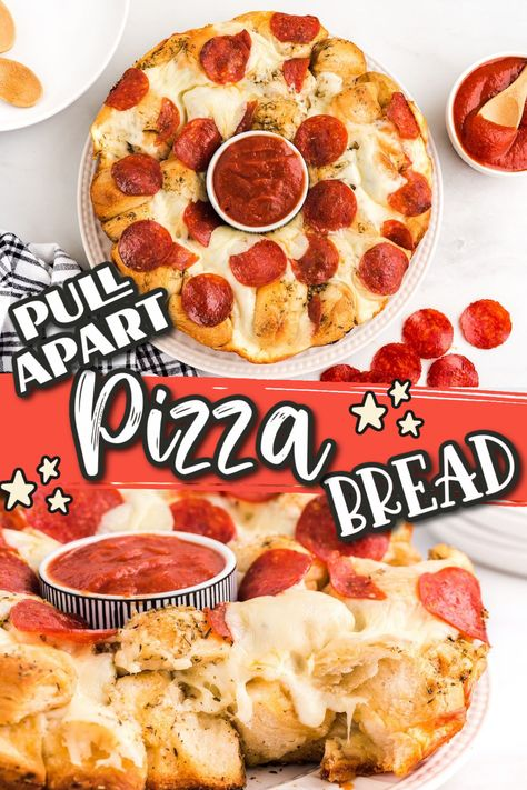 Our Pull-Apart Pizza Bread is great as an appetizer, snack or even an easy dinner! Made with refrigerated biscuits, cheese and your favorite pizza toppings, this is sure to be your favorite new recipe for a crowd!