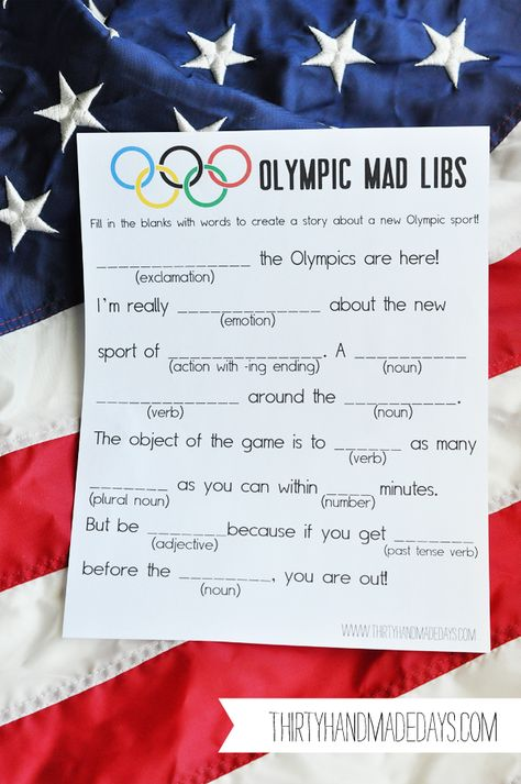 Olympic Mad Libs from Thirty Handmade Days. #Olympics