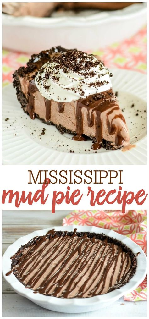 This Mud Pie only takes a few minutes to make, but it is simply divine. With a cookie crumb crust, creamy ice cream, hot fudge, and whipped cream, it is a perfect summer dessert! #mudpie #mudepierecipe #mississippimudpie #icecreampie #mudpie #mississippimudpiercipe