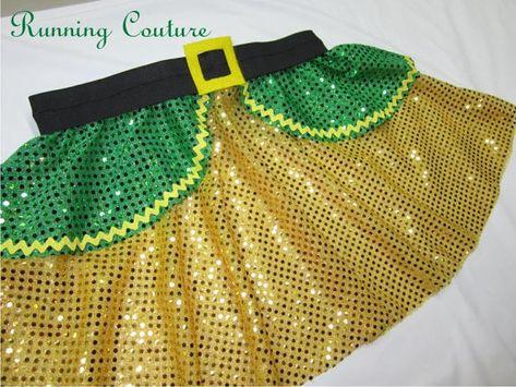 5e000a6ed21e0 Buddy Elf inspired green & yellow Sparkle Running Skirt, Women's ...
