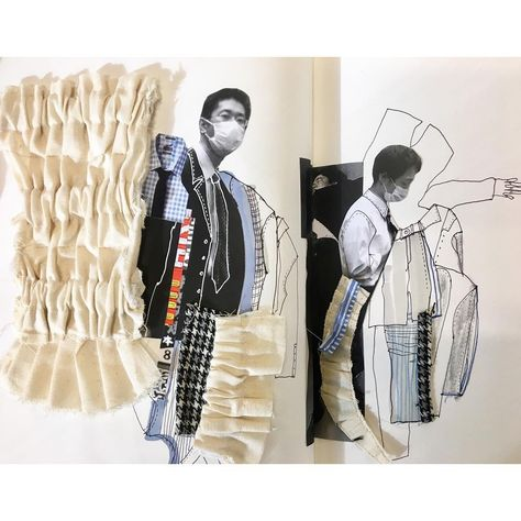 Sketchbook development work by Her project looks at Japanese Culture and in particular the 'Japanese Businessman'