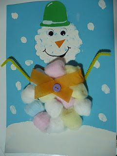 Maro's kindergarten: Cotton ball snowman craft