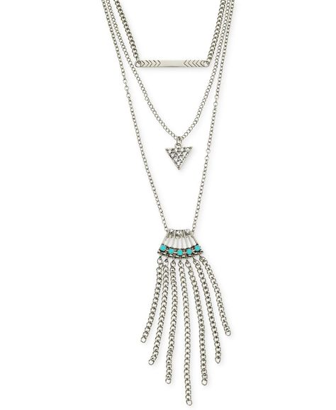 GUESS Womens Layered Charm Necklace