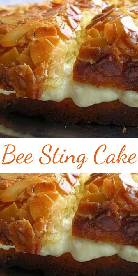 If you like honey, then this Bee Sting Cake is the cake for you — it's in the batter, the topping and filling. The topping is a honey-butter-almond topping, which creates a crispy, crackly top. It is sooo good. Oreo Dessert, Eat Dessert First, Pumpkin Dessert, Dessert Bars, Bienenstich Cake, 13 Desserts, Cake Mix Desserts, German Desserts, Poke Cake Recipes