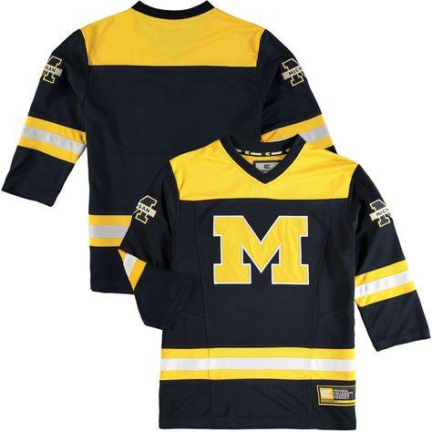 Michigan Wolverines Colosseum Youth Hockey Jersey Navy With Images Youth Hockey Michigan Wolverines Hockey Jersey