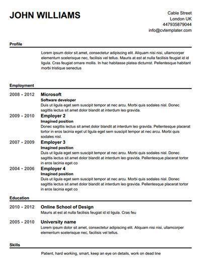 Create A Resume Free Templates Create Freeresumetemplates Resume Templates Free Resume Builder Resume Template Free Free Printable Resume