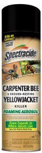 Spectracide Carpenter Bee and Ground Nesting Yellow Jacket Foaming Aerosol, 16-Ounce   Spectracide Carpenter Bee and Ground Nesting Yellow Jacket Foaming Aerosol, 16-Ounce Spectracide carpenter bee and ground nesting yellow jacket foaming aerosol  (16 oz).  The foaming aerosol expands in to hard to reach places where insects live, kills on contact and keeps killing for up to 3 months.  http://www.thelawngarden.com/spectracide-carpenter-bee-and-ground-nesting-yellow-jacket-foaming-a..
