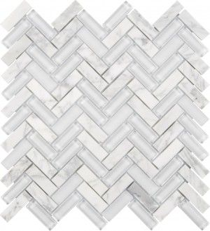 Chelsea Glass Herringbone White Interceramic Usa Decorative