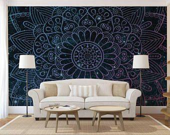 Mandala Decal Mandala Wall Decal Mandala Wallpaper Mandala Wall Mural Bohemian Wallpaper Boho Wallpaper Boho Mandala Wallpaper Home Decor Boho Wallpaper