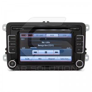 Genuine OEM Delphi head unit for Volkswagen, Skoda, Seat. Has input for reverse camera connections. Supports USB drives and iPod/iPhone connection, steering wheel controls.