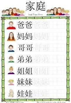 Mandarin Chinese Worksheets 家庭 Family การเร ยนร การสอน จ น