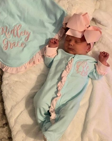 Baby girl coming home outfit monogrammed footie newborn | Etsy