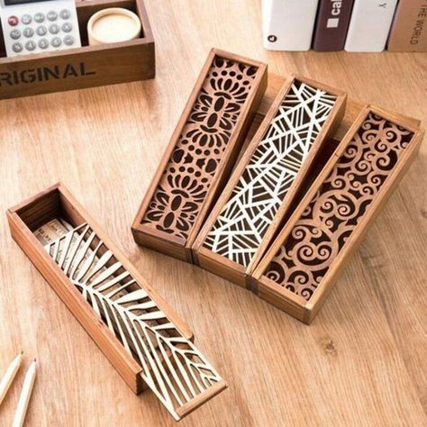 Cheap storage box, Buy Quality box creative directly from China case storage Suppliers: Hot Hollow Wood Pencil Case Storage Box Creative Students Cute Wooden Pencil Box Multifunction Stationery School Gift