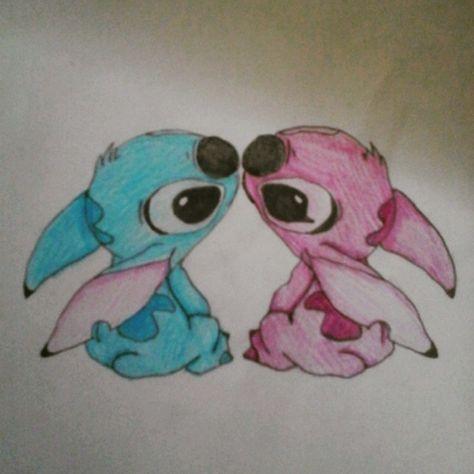 Male and female stitch #disney #stitch #cute #pencil #colourpencil #drawing