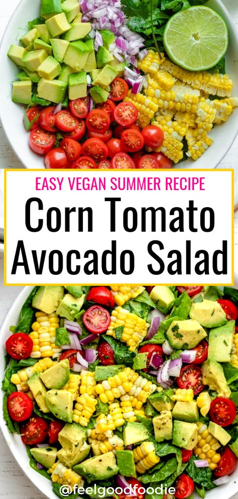This Corn Tomato Avocado Salad is a quintessential and easy vegan summer recipe made with fresh vegetables and tossed with lime juice olive oil cilantro Summer Recipes Vegan Vegetarian Salad Ideas Lunch food Potluck Grilling Tasty Vegetarian Recipes, Raw Vegan Recipes, Vegan Dinner Recipes, Veggie Recipes, Whole Food Recipes, Cooking Recipes, Healthy Recipes, Vegan Vegetarian, Vegan Recipes Vegetables