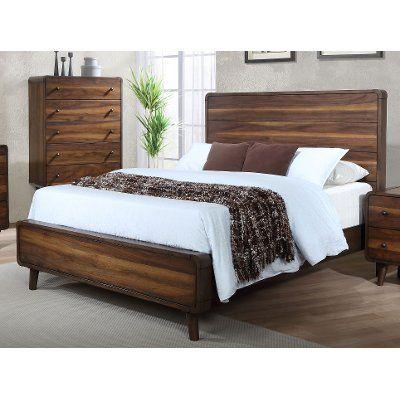 Mid Century Modern Walnut Brown King Size Bed Yasmin Utah Beds