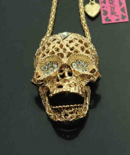 Betsey Johnson Women Men 10k Gold Plated Crystal Skull Pendant 28 34 Necklace Betseyjohnson Chainp Skull Pendant Necklace Gold Chains For Men Skull Pendant