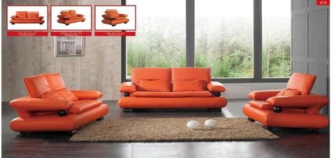 Cool Esf 410 Modern Living Room Set In Orange Leather Small Machost Co Dining Chair Design Ideas Machostcouk
