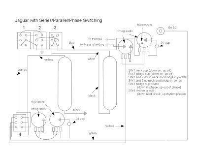 fender jaguar rewiring with series, parallel and phase switching - diagram  of wiring circuit for fender jaguar with series… | fender jaguar, jaguar,  series parallel  pinterest