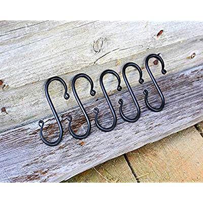 Wrought Iron S Hooks For Hanging 5 S Hooks Hand Forged Wrought Iron Hooks Wrought Iron Hooks Iron Hook Hanging Hooks