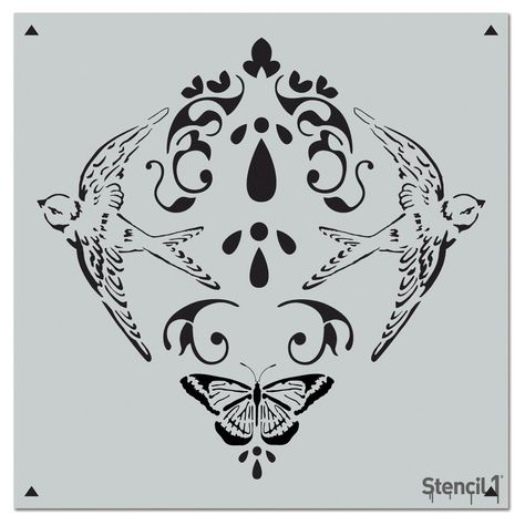 This easy-to-use Nature Damask Repeat Pattern Stencil from is perfect for walls, home decor, clothing and more. Each stencil is cut high quality in order to provide a long lasting design. Damask Stencil, Stencil Patterns, Stencil Diy, Stencil Designs, Wall Patterns, Stencils, Etsy Crafts, Detail Art, Types Of Art