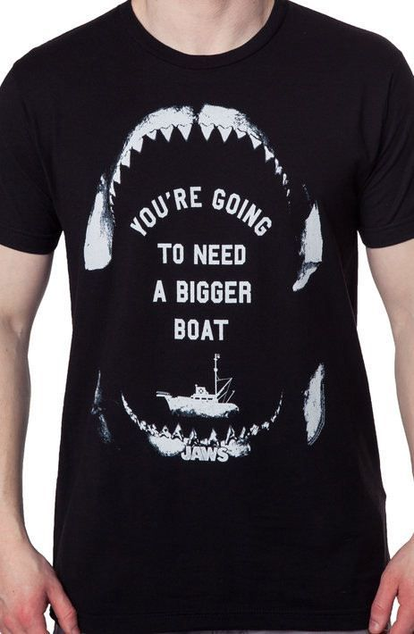 JAWS  T-Shirt  camiseta cotton officially licensed