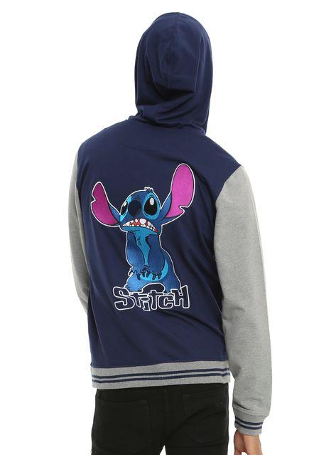 Disney Lilo & Stitch Hibiscus Snap Varsity Hoodie,