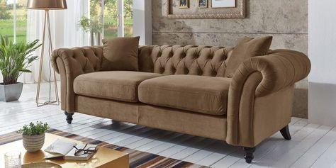 3 Sitzer Chesterfield Sofa Mona Cognac Barock Mobel Wohnzimmer