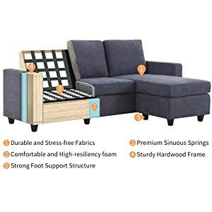 Amazon Com Honbay Convertible Sectional Sofa Couch L Shaped