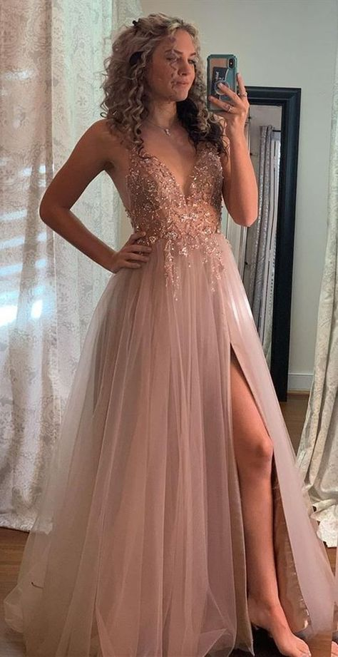 A-line V-neck Prom Dress with Beading Long Prom Dresses 8th Graduation Dress Formal Dress PDP0601