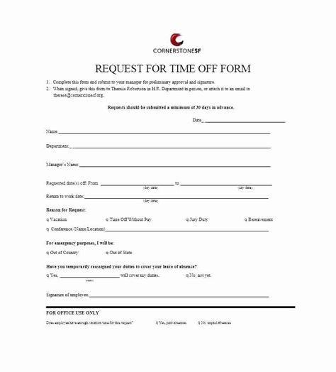 Free Employee Vacation Request Form Time Off Request Form