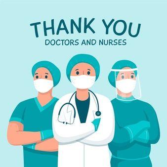Gracias A Los Medicos Y Enfermeras Tema De Mensaje De Apoyo Vector Gratis Medico Dibujo Imagenes De Medicos Enfermero Dibujo
