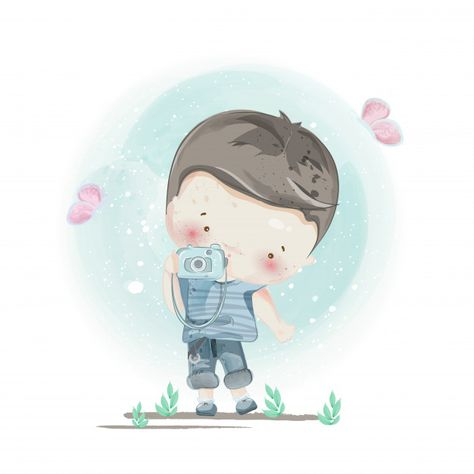 Character in lovely boy style. Premium Vector