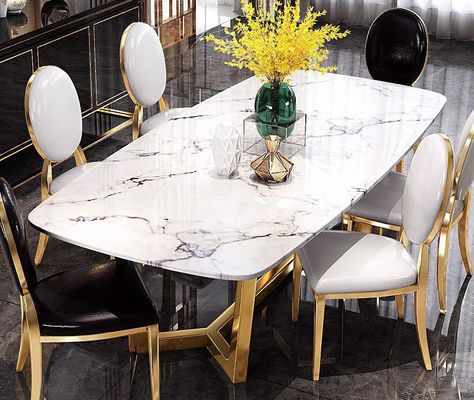 Post Modern Light Luxury Marble Dining Table Gold Plated Stainless