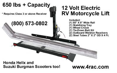 Affordable 12 Volt Electric Motorcycle lift for RVs, Motor
