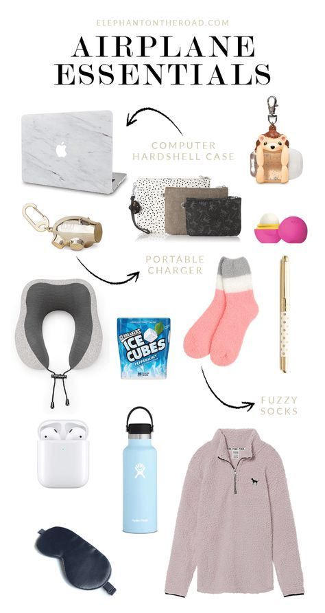 Airplane Essentials: Long Flight Edition – Elephant On The Road Airplane Essentials: Long Flight Edition. What's in my travel tote. What's in my travel backpack. What to pack in person. Travel Essentials List, Airplane Essentials, Travel Packing Checklist, Carry On Packing, Road Trip Packing, Road Trip Hacks, Travelling Tips, Travel Hacks, Carry On Essentials For Teens