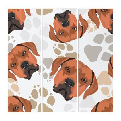 Dog Paws Pattern Rhodesian Ridgeback Triptych Dog Wall Art Dog Art Triptych Wall Art
