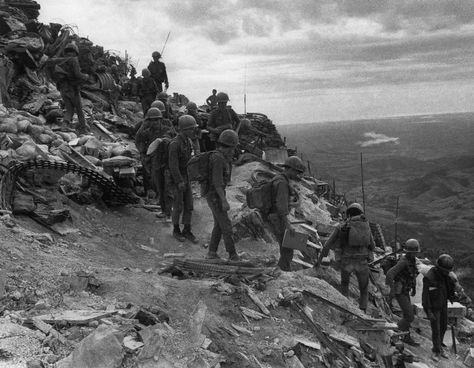 South Vietnamese troops move out on patrol from Firebase Fuller, a hilltop position four miles south of the demilitarized zone, Vietnam on July 20, 1971. (AP Photo/Jacques Tonnaire) #