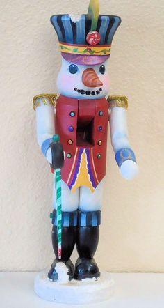 Hand Painted wooden tole Snowman Soldier nutcracker