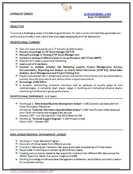 Resume Templates For 5 Years Experience Experience Resume Resumetemplates Templates Years Resume Examples Sample Resume Format Job Resume Examples
