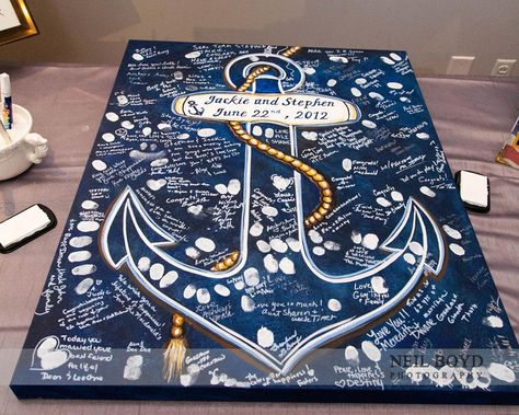 Creative guest book ideas that you can hang in your home after the wedding.  Nautical wedding.  Navy wedding.  Raleigh wedding.
